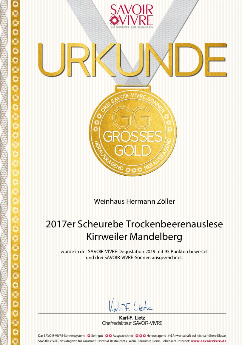 SV-Grosses Gold 2017er Scheurebe Trockenbeerenauslese Kirrweiler Mandelberg