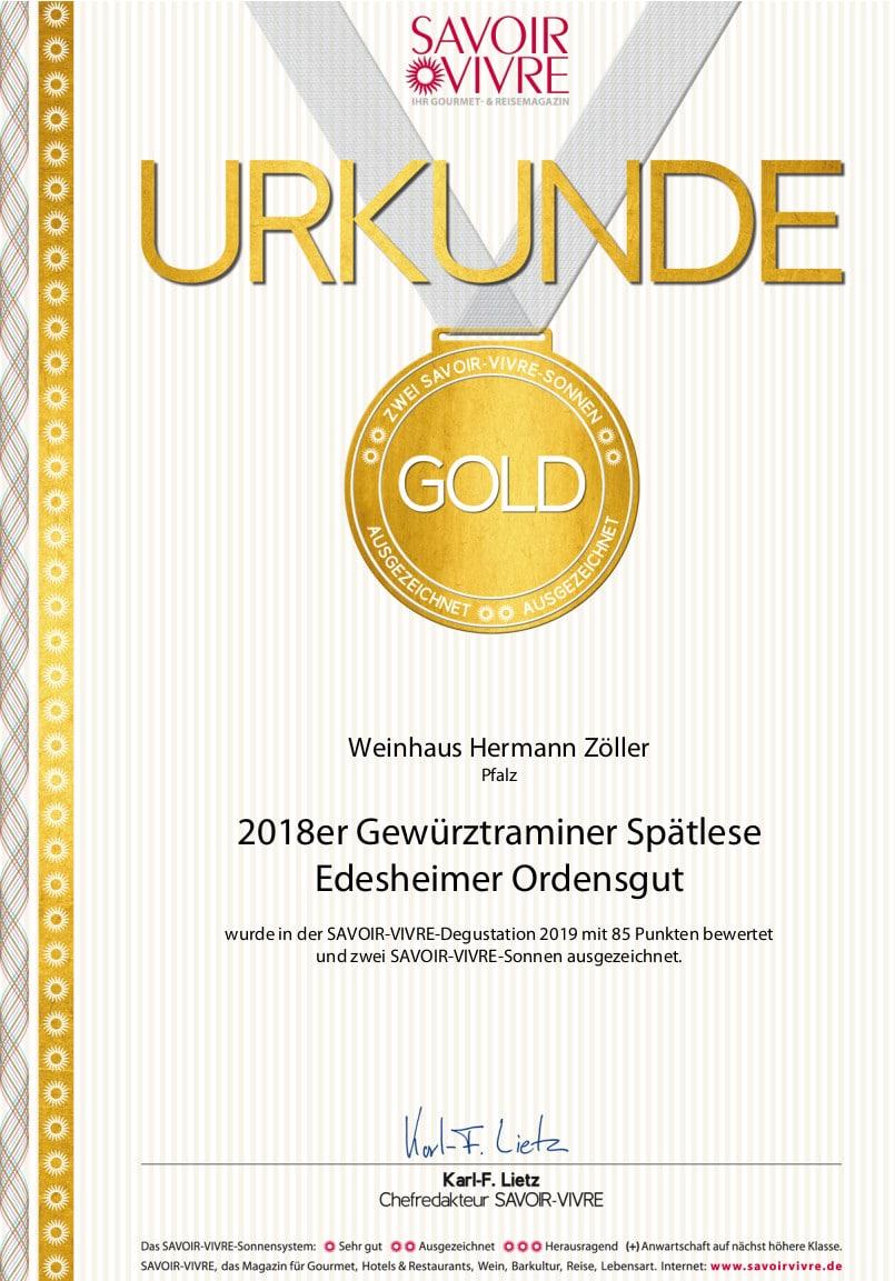 SV-Grosses Gold 2018er Gewürztraminer Spätlese Edesheimer Ordensgut